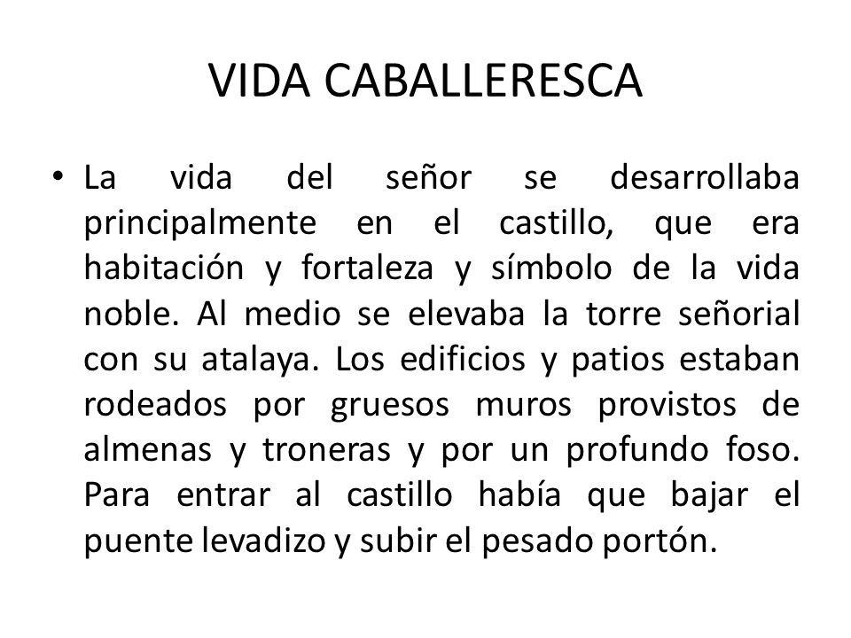 VIDA CABALLERESCA