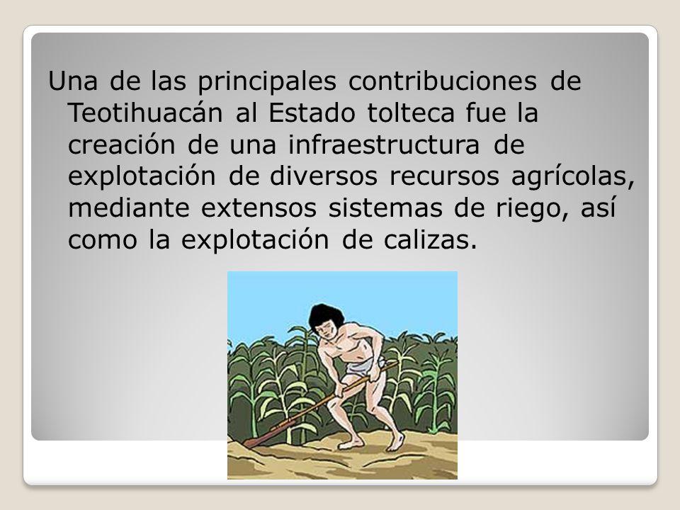 Una de las principales contribuciones de Teotihuacán al Estado tolteca fue la creación de una infraestructura de explotación de diversos recursos agrícolas, mediante extensos sistemas de riego, así como la explotación de calizas.