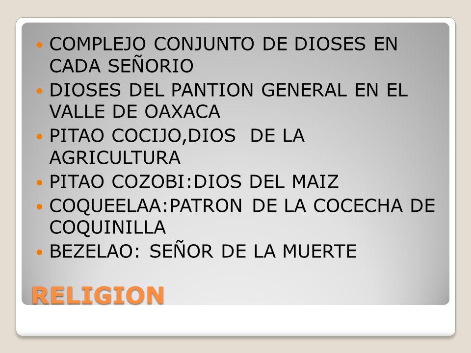 RELIGION COMPLEJO CONJUNTO DE DIOSES EN CADA SEÑORIO
