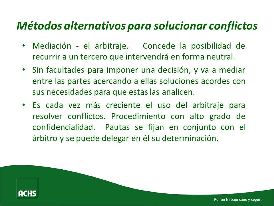 Métodos alternativos para solucionar conflictos