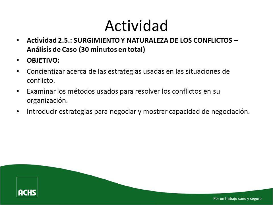 Actividad Actividad 2.5.: SURGIMIENTO Y NATURALEZA DE LOS CONFLICTOS – Análisis de Caso (30 minutos en total)