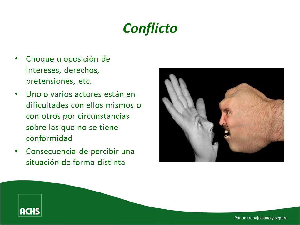Conflicto Choque u oposición de intereses, derechos, pretensiones, etc.