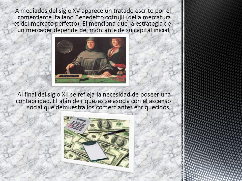 A mediados del siglo XV aparece un tratado escrito por el comerciante italiano Benedetto cotrujil (della mercatura et del mercato perfetto). El menciona que la estrategia de un mercader depende del montante de su capital inicial.