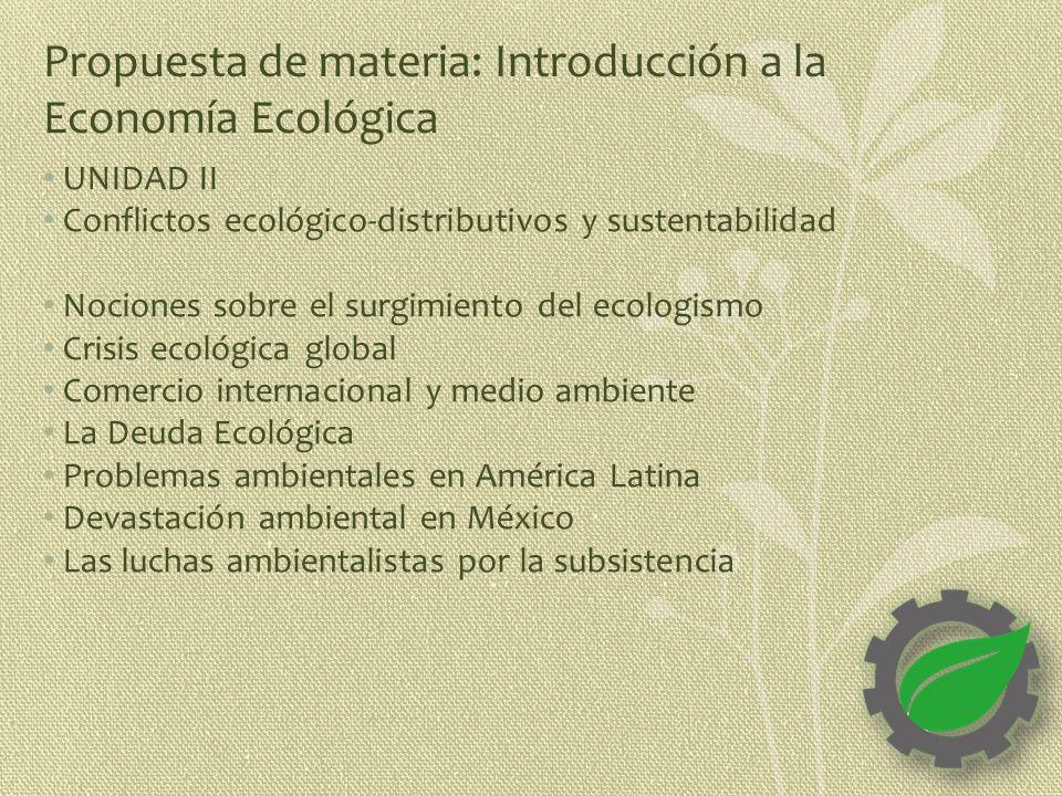 Propuesta de materia: Introducción a la Economía Ecológica