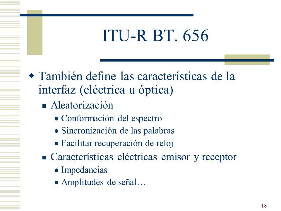 25/03/2017 ITU-R BT. 656. También define las características de la interfaz (eléctrica u óptica) Aleatorización.