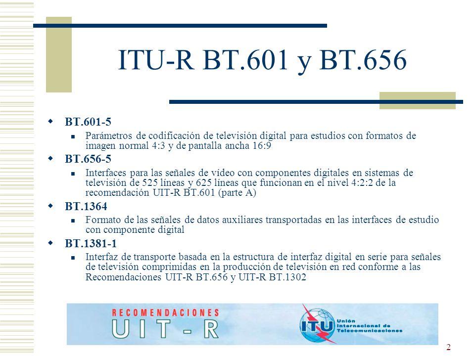 ITU-R BT.601 y BT.656 BT.601-5 BT.656-5 BT.1364 BT.1381-1