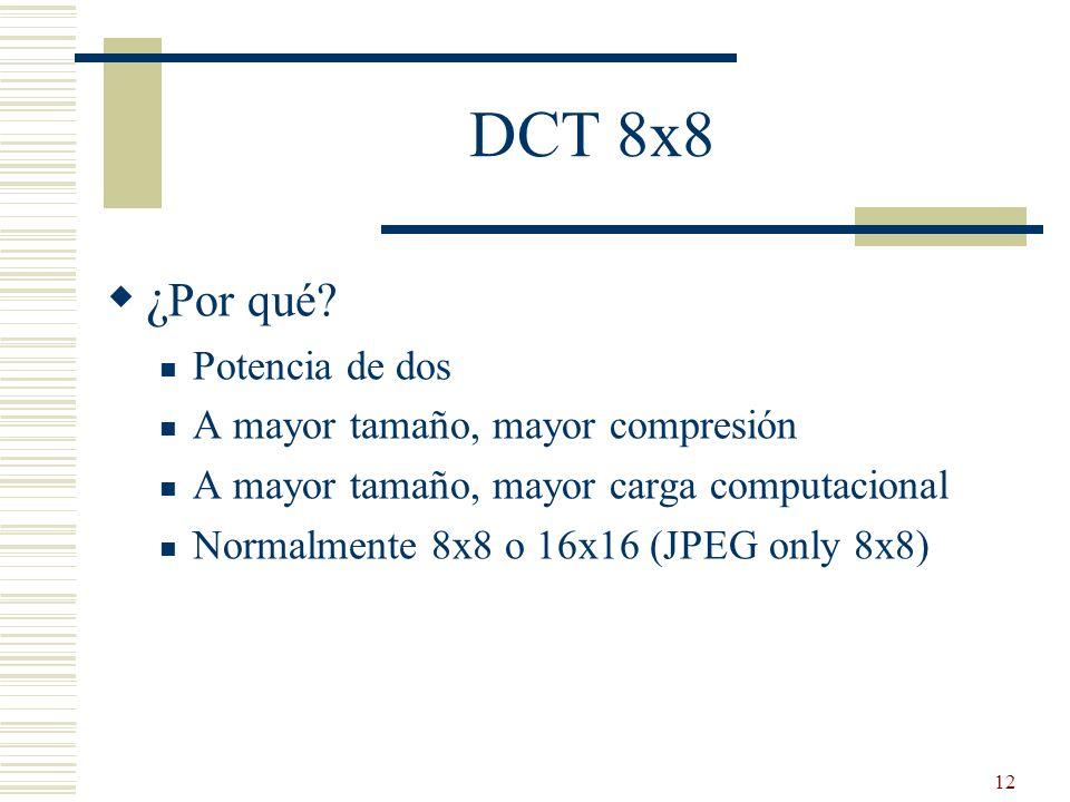 DCT 8x8 ¿Por qué Potencia de dos A mayor tamaño, mayor compresión