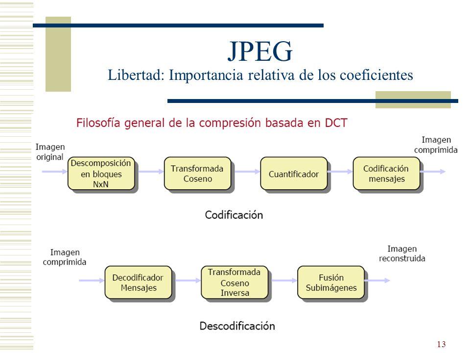 JPEG Libertad: Importancia relativa de los coeficientes