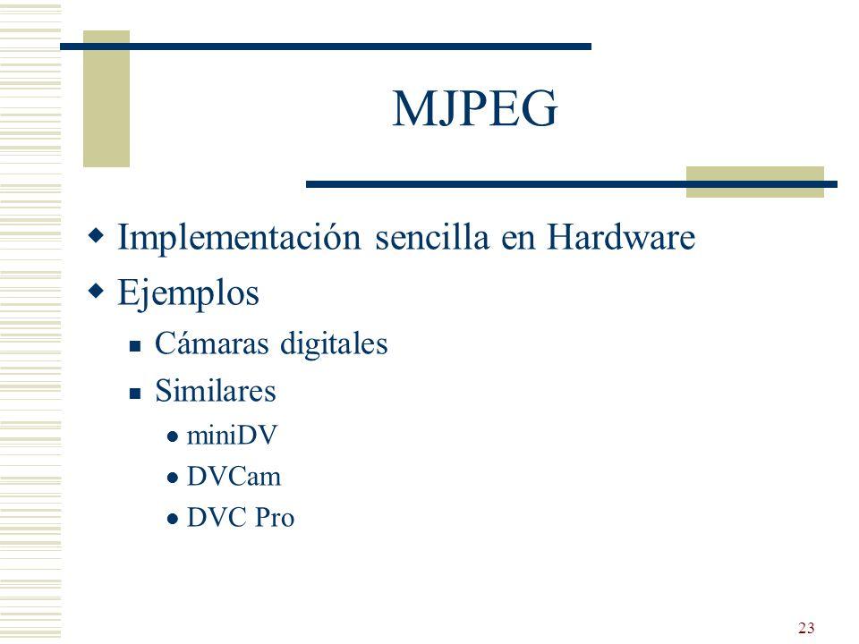 MJPEG Implementación sencilla en Hardware Ejemplos Cámaras digitales