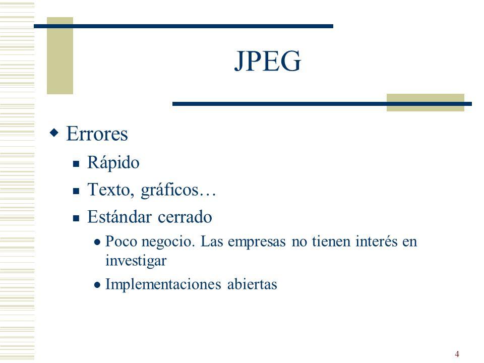 JPEG Errores Rápido Texto, gráficos… Estándar cerrado