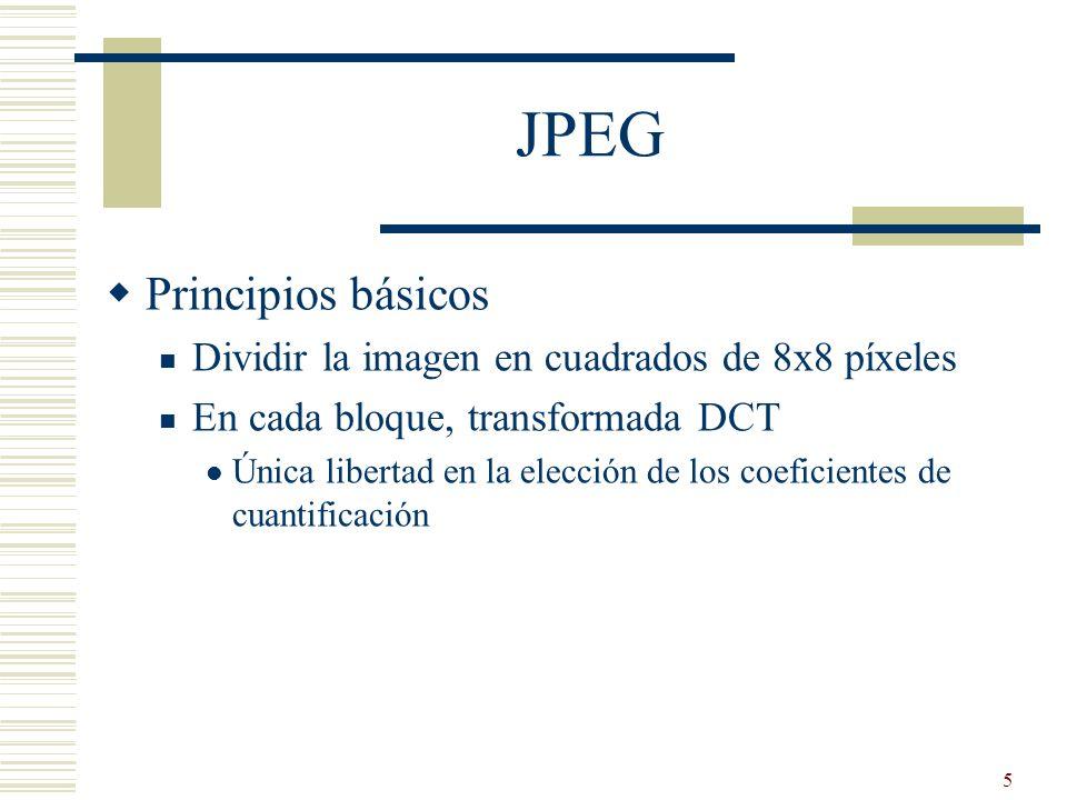 JPEG Principios básicos Dividir la imagen en cuadrados de 8x8 píxeles