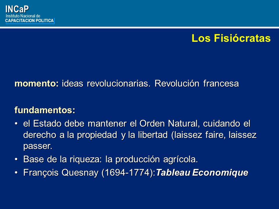 INCaP Instituto Nacional de. CAPACITACION POLITICA. Los Fisiócratas. momento: ideas revolucionarias. Revolución francesa.