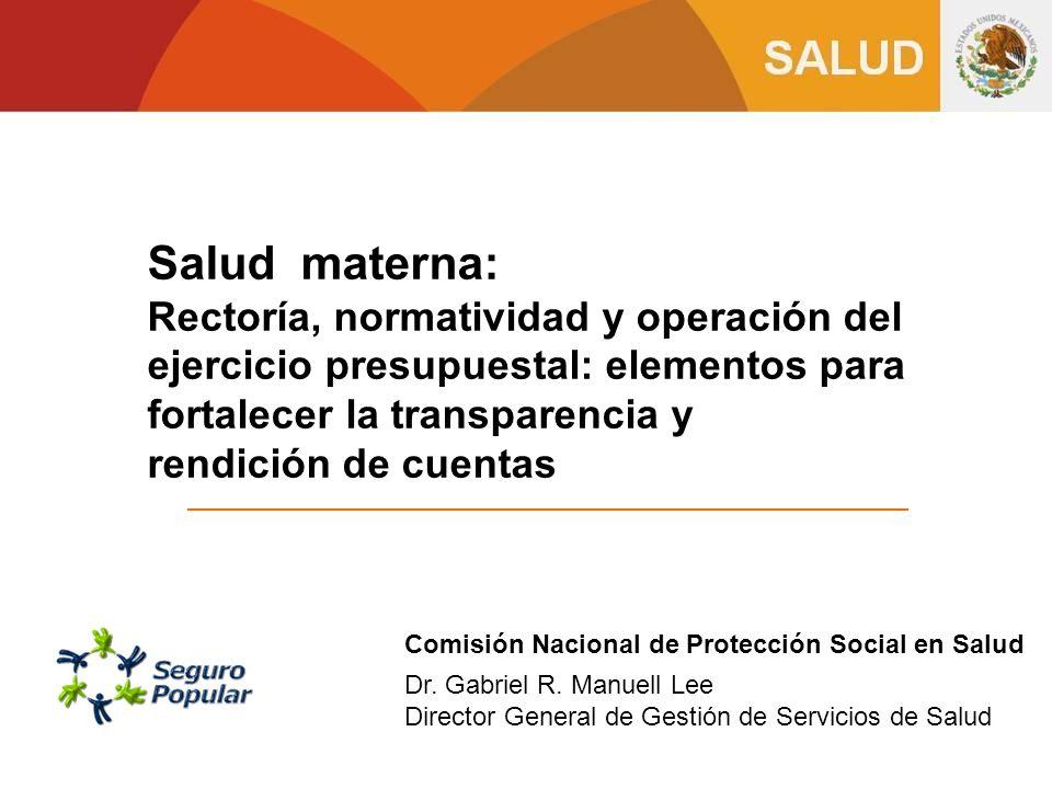 Salud materna: Rectoría, normatividad y operación del ejercicio presupuestal: elementos para fortalecer la transparencia y.