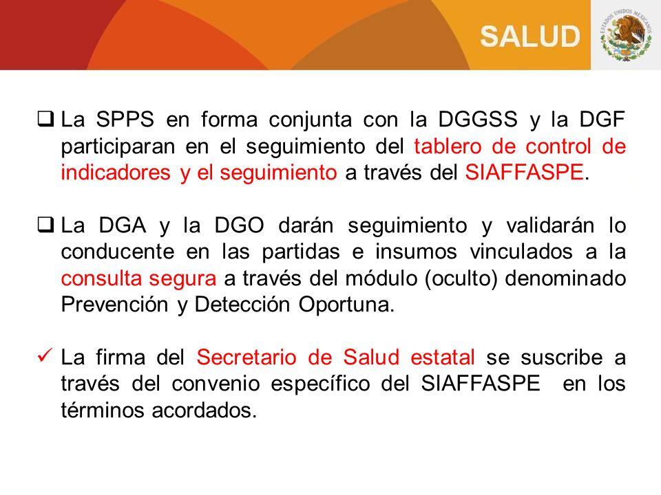 La SPPS en forma conjunta con la DGGSS y la DGF participaran en el seguimiento del tablero de control de indicadores y el seguimiento a través del SIAFFASPE.