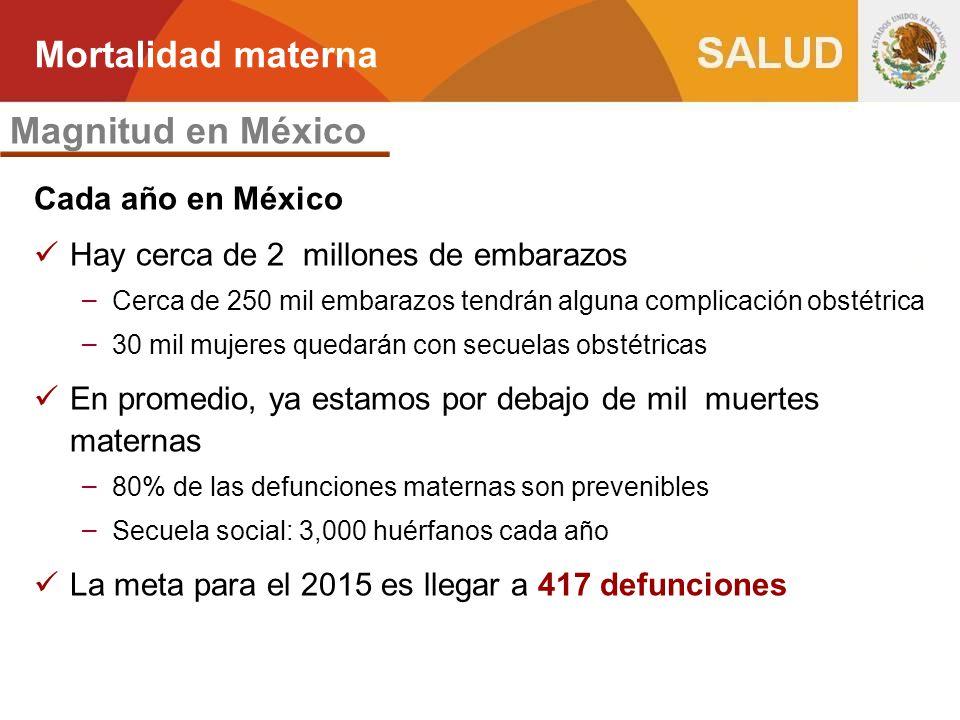 Mortalidad materna Magnitud en México Cada año en México
