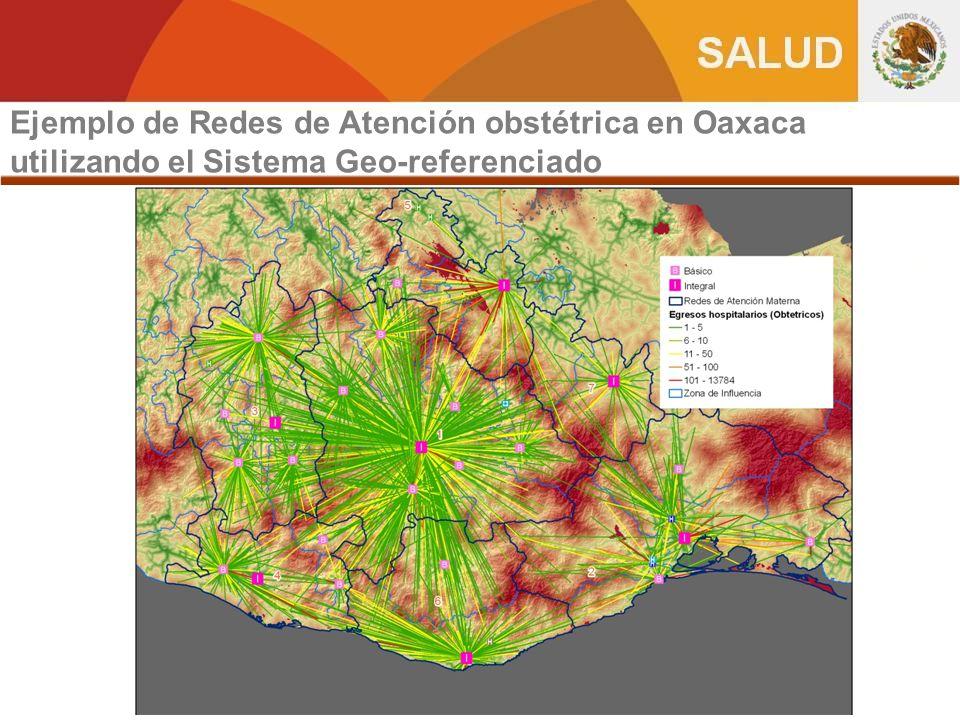 Ejemplo de Redes de Atención obstétrica en Oaxaca utilizando el Sistema Geo-referenciado