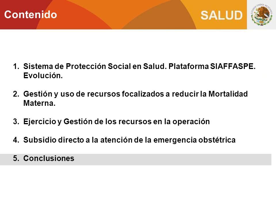 Contenido Sistema de Protección Social en Salud. Plataforma SIAFFASPE. Evolución.