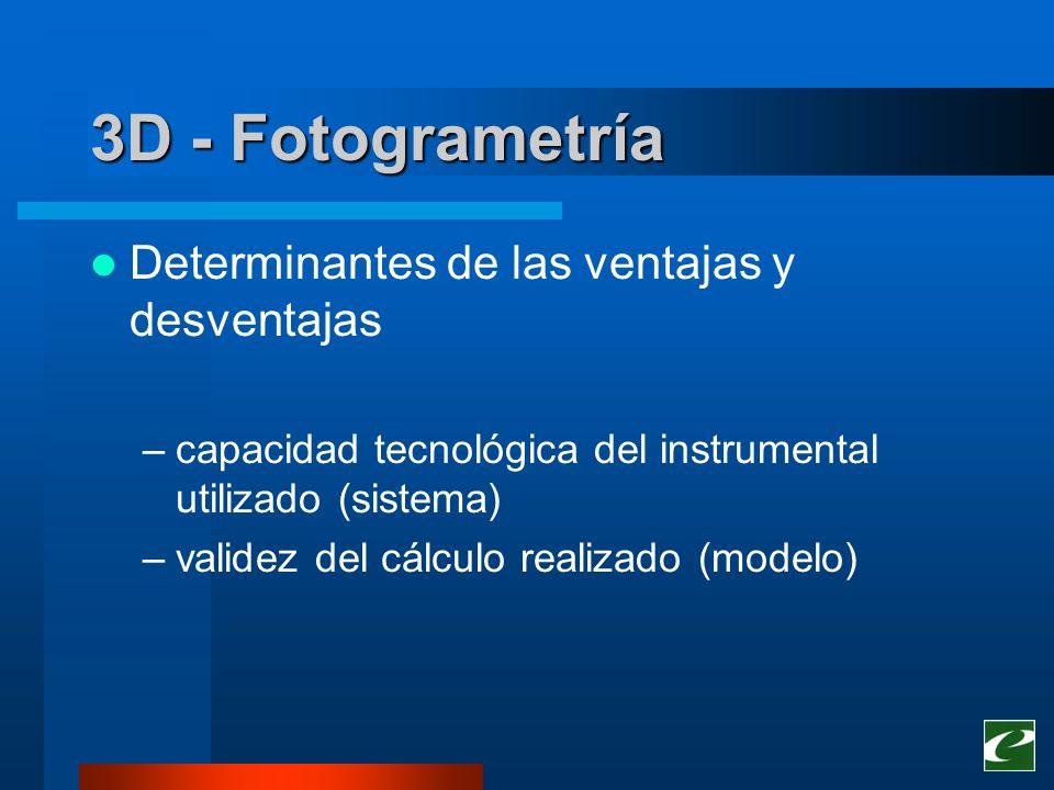 3D - Fotogrametría Determinantes de las ventajas y desventajas