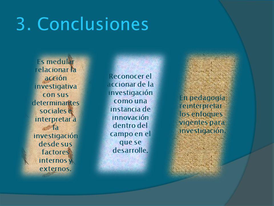 3. Conclusiones Reconocer el accionar de la investigación como una instancia de innovación dentro del campo en el que se desarrolle.
