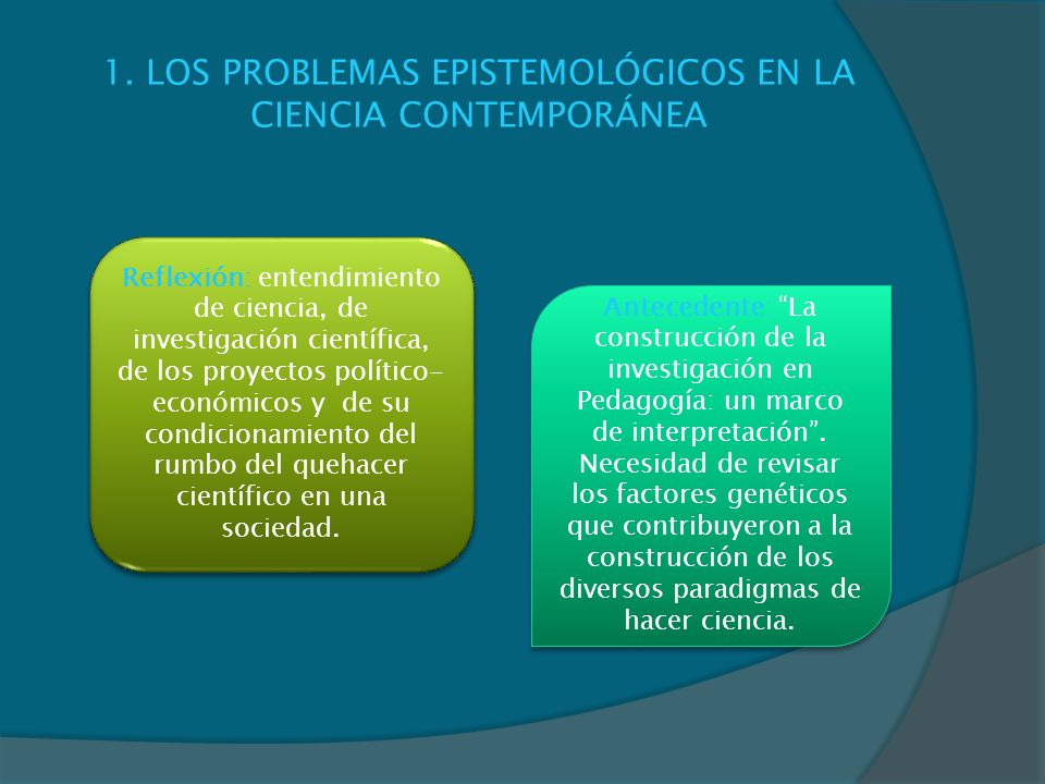 1. LOS PROBLEMAS EPISTEMOLÓGICOS EN LA CIENCIA CONTEMPORÁNEA