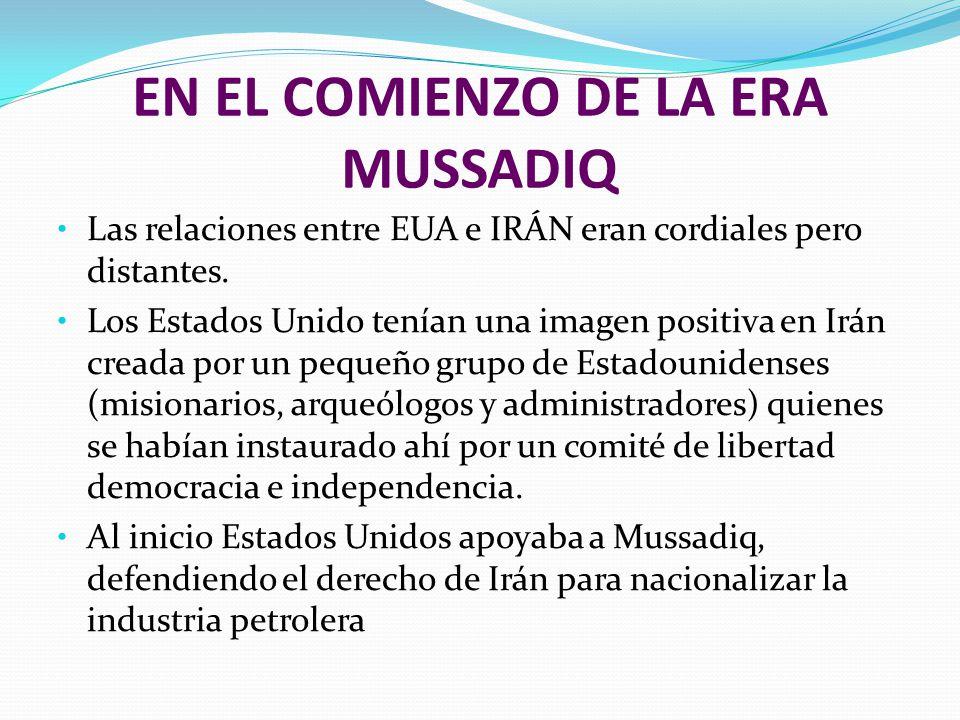 EN EL COMIENZO DE LA ERA MUSSADIQ