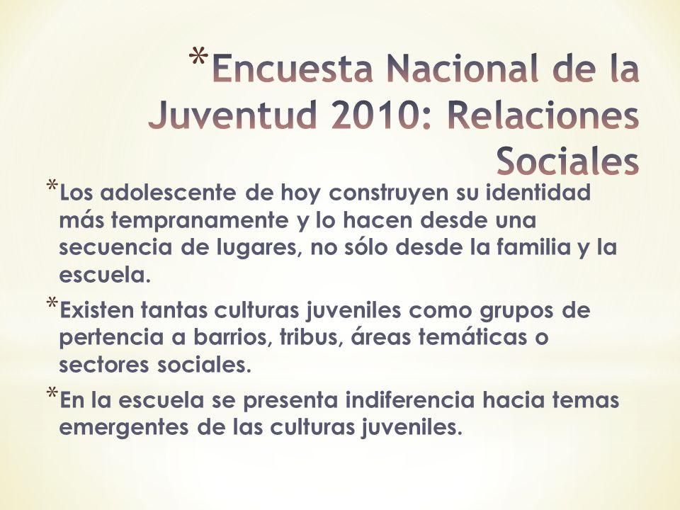 Encuesta Nacional de la Juventud 2010: Relaciones Sociales