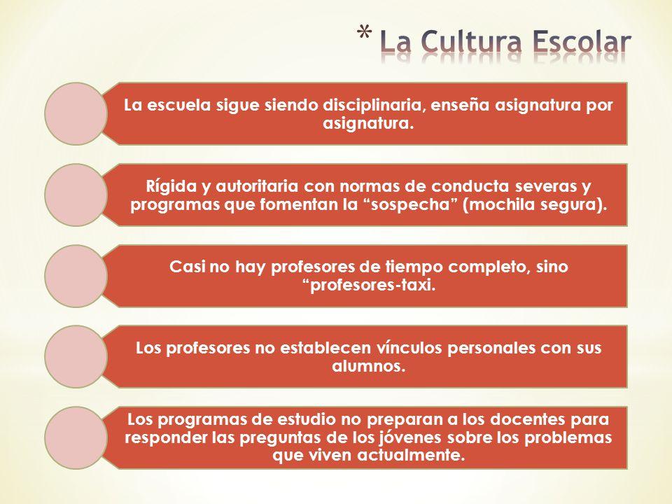 La Cultura Escolar La escuela sigue siendo disciplinaria, enseña asignatura por asignatura.