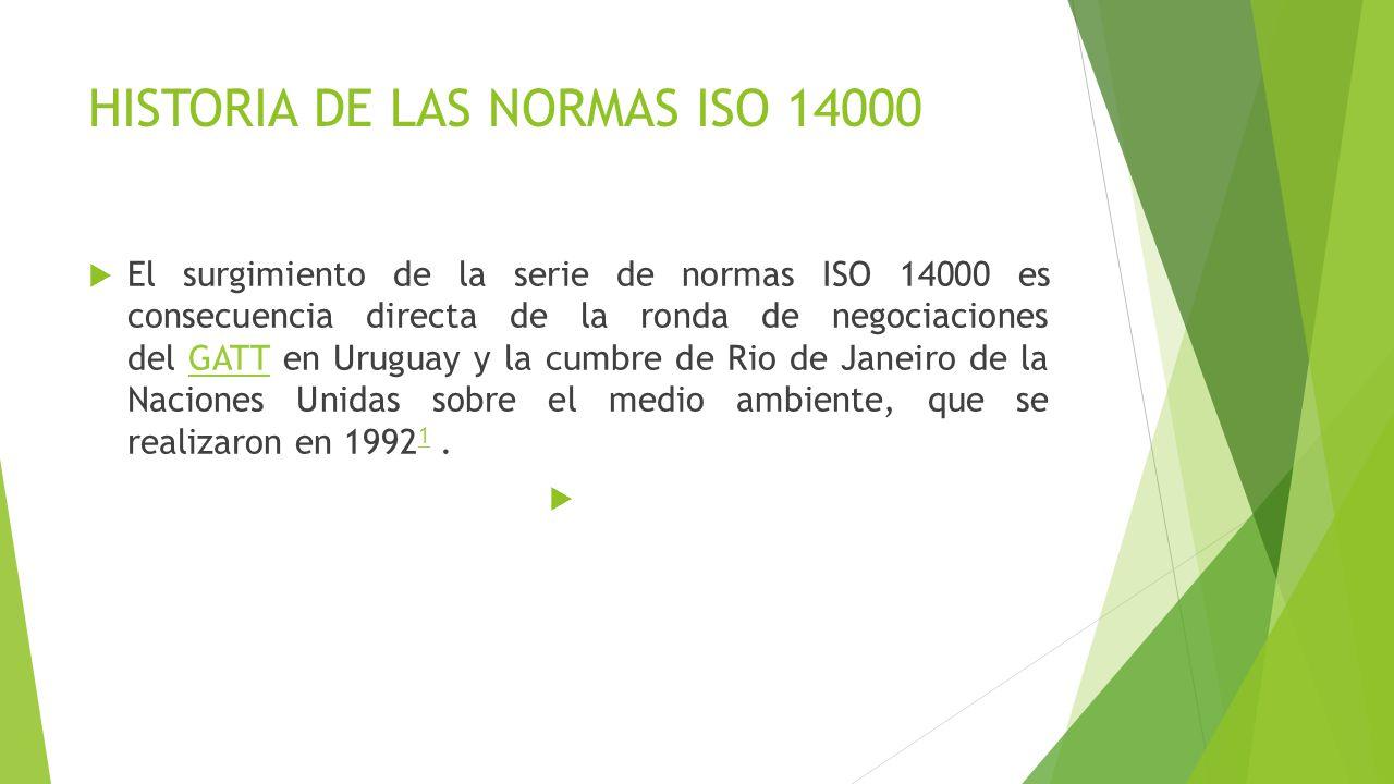 HISTORIA DE LAS NORMAS ISO 14000