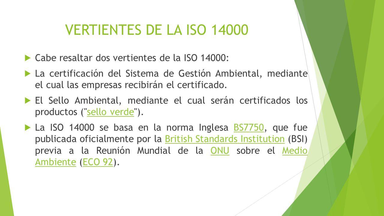 VERTIENTES DE LA ISO 14000 Cabe resaltar dos vertientes de la ISO 14000: