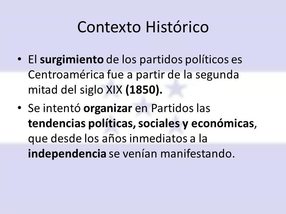 Contexto Histórico El surgimiento de los partidos políticos es Centroamérica fue a partir de la segunda mitad del siglo XIX (1850).
