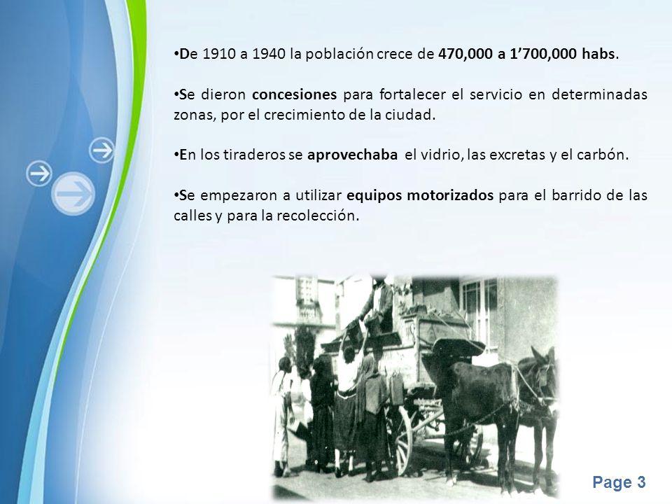 De 1910 a 1940 la población crece de 470,000 a 1'700,000 habs.