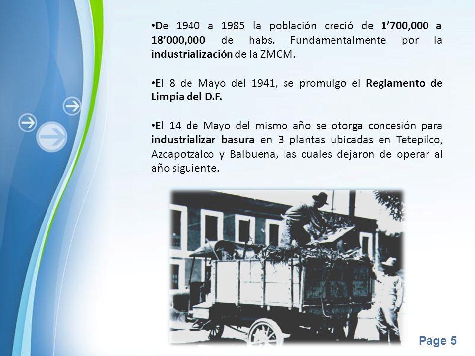 De 1940 a 1985 la población creció de 1'700,000 a 18'000,000 de habs