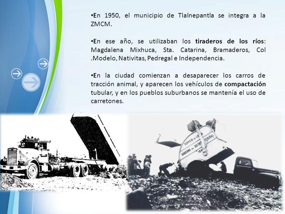 En 1950, el municipio de Tlalnepantla se integra a la ZMCM.