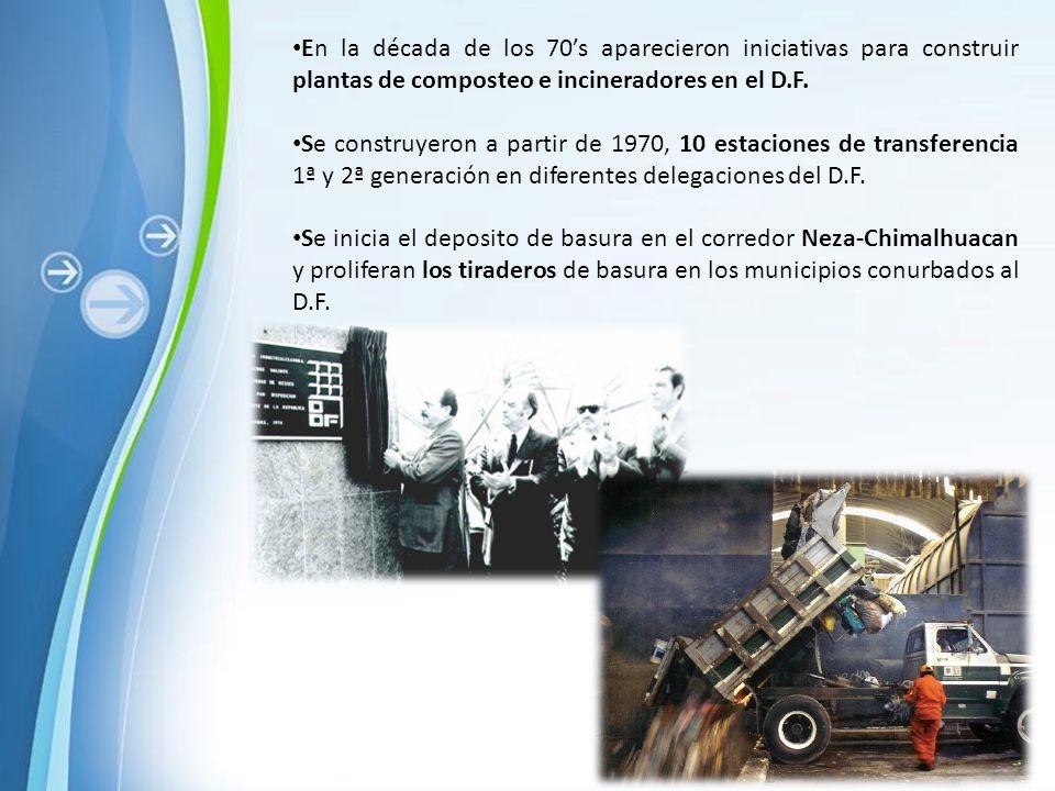 En la década de los 70's aparecieron iniciativas para construir plantas de composteo e incineradores en el D.F.