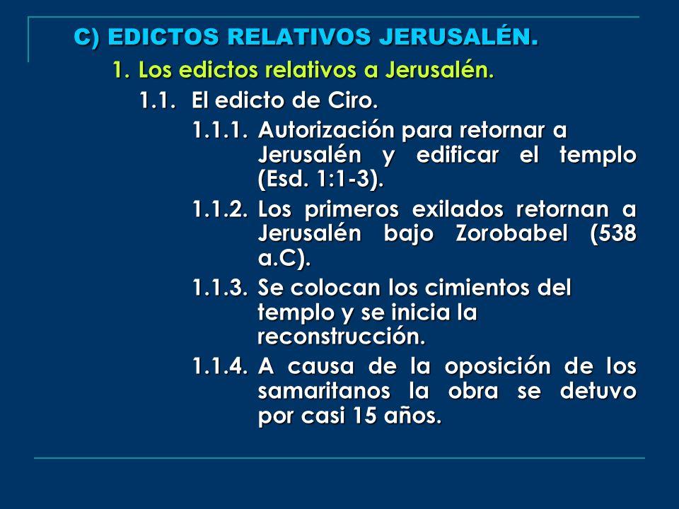 C) EDICTOS RELATIVOS JERUSALÉN.