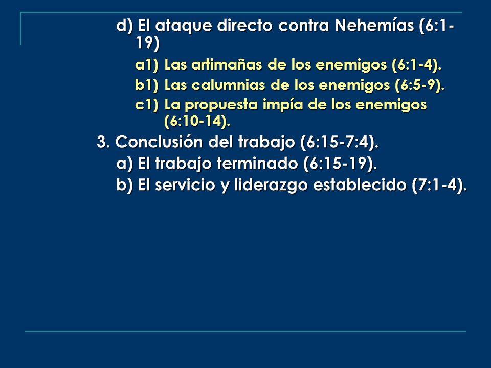 d) El ataque directo contra Nehemías (6:1- 19)