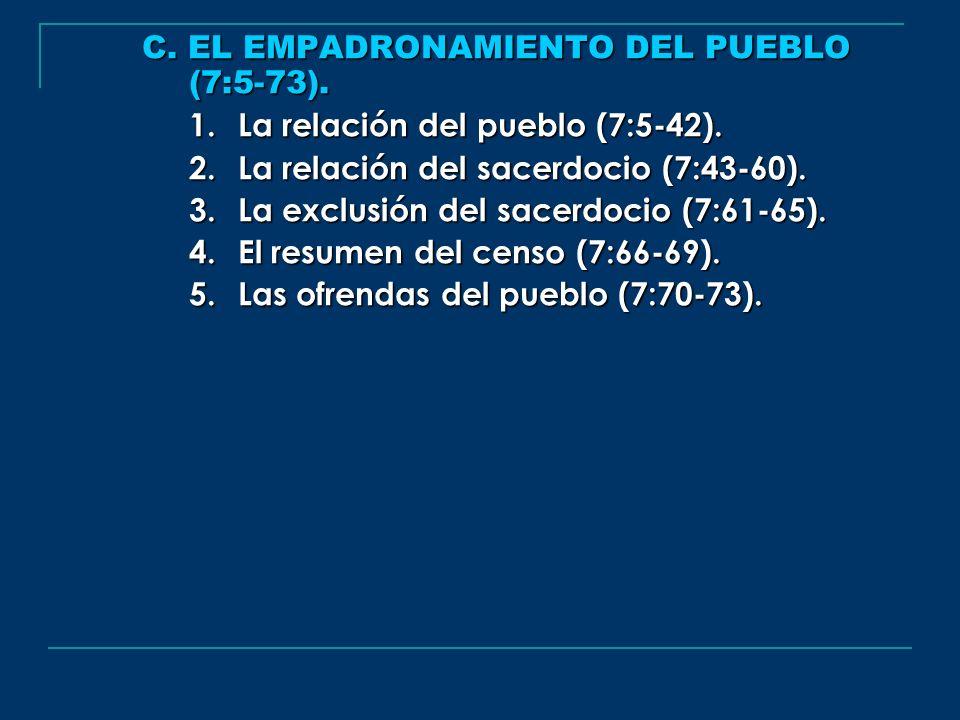 C. EL EMPADRONAMIENTO DEL PUEBLO (7:5-73).