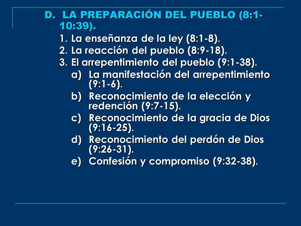 D. LA PREPARACIÓN DEL PUEBLO (8:1-10:39).