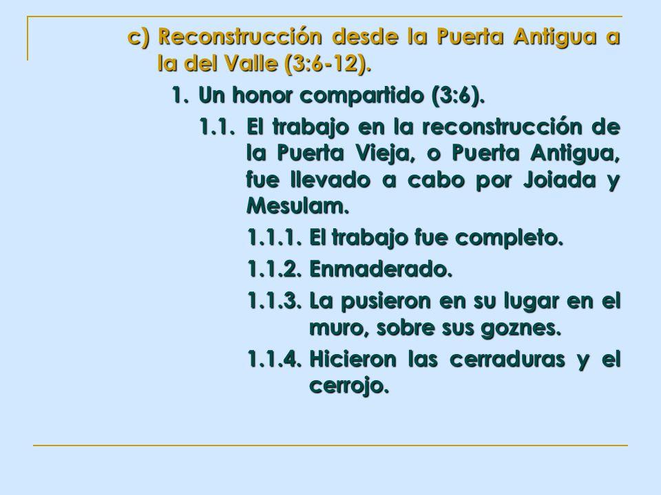 Reconstrucción desde la Puerta Antigua a la del Valle (3:6-12).
