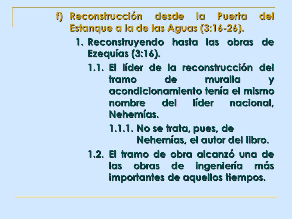 Reconstrucción desde la Puerta del Estanque a la de las Aguas (3:16-26).