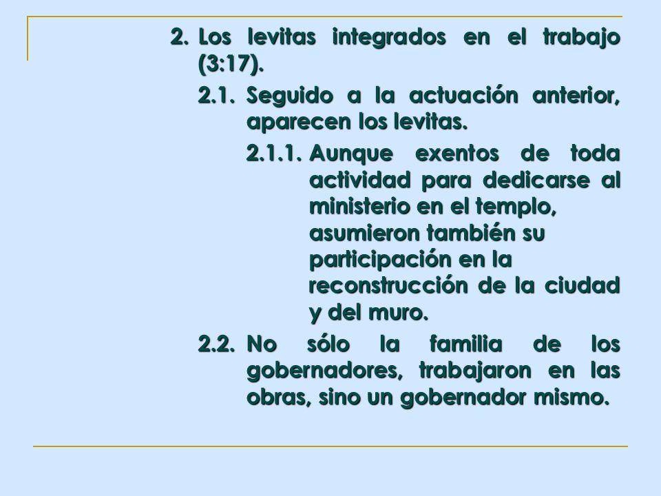 2. Los levitas integrados en el trabajo (3:17).