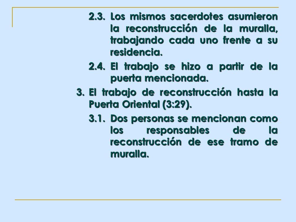 2.3. Los mismos sacerdotes asumieron la reconstrucción de la muralla, trabajando cada uno frente a su residencia.
