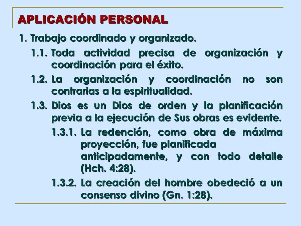 APLICACIÓN PERSONAL 1. Trabajo coordinado y organizado.