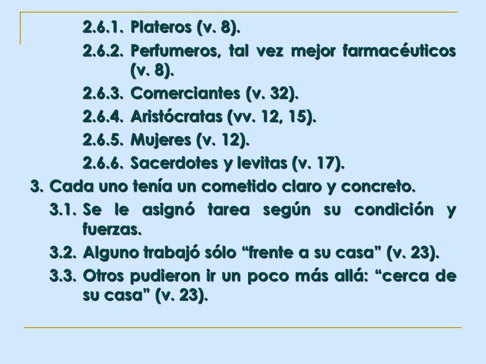 2.6.1. Plateros (v. 8).2.6.2. Perfumeros, tal vez mejor farmacéuticos (v. 8). 2.6.3. Comerciantes (v. 32).