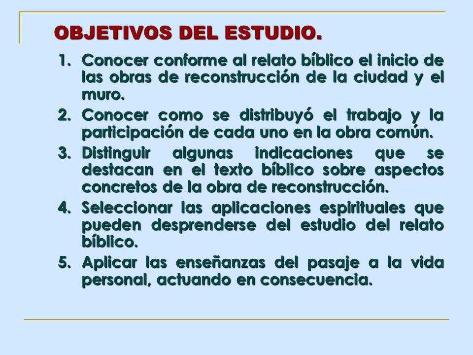 OBJETIVOS DEL ESTUDIO.Conocer conforme al relato bíblico el inicio de las obras de reconstrucción de la ciudad y el muro.