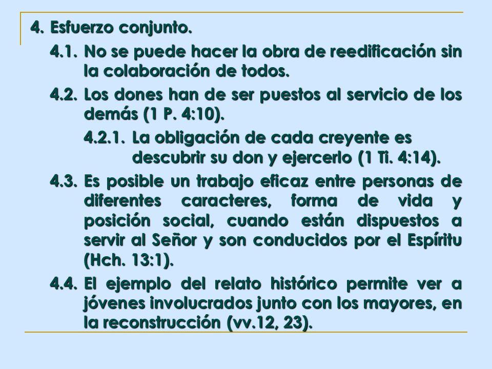4. Esfuerzo conjunto. 4.1. No se puede hacer la obra de reedificación sin la colaboración de todos.