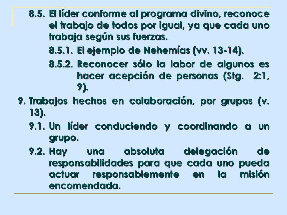 8. 5. El líder conforme al programa divino, reconoce