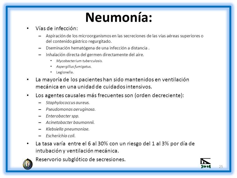 Neumonía: Vías de infección: