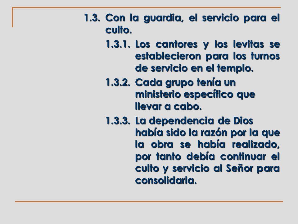 1.3.2. Cada grupo tenía un ministerio específico que llevar a cabo.