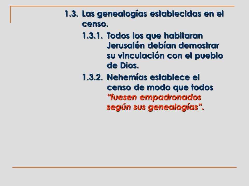1.3. Las genealogías establecidas en el censo.